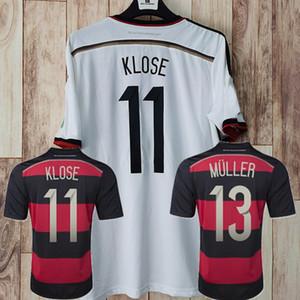 레트로 클래식 독일 2014 축구 유니폼 홈 멀리 Klose Podolski Kroos Gotze Lahm Schweinsteiger 3 4 별 축구 셔츠
