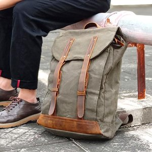 Canvas Backpack Mountaineering Hiking Backpack Bags Stitch Rucksack Bag Waterproof for Men Travel Laptop Bag