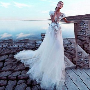 Sexy A Line Beach Wedding Dresses Lace Appliques Deep V Neck Cap Long Sleeves Sash Sweep Train Plus Size Custom Formal Bridal Gowns