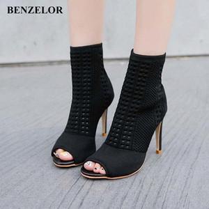 Benzelor 2018 Осень зима Новый Peep Toe Женская Обувь Женщина Ботинки Тонкая супер высокие каблуки Мода Дамы Boot Black N17 R2SD #