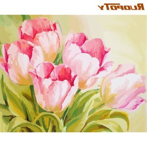 RUOPOTY Picture By Numbers For Adults Children Tulips Flower Oil Paint Kits Hand Painted DIY Gift Home Decoration 40x50 Frame Cr