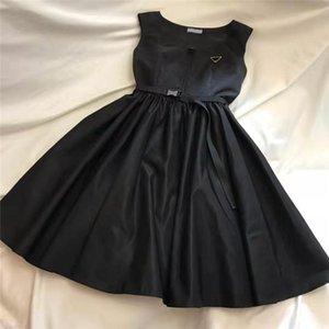 Donne vestito senza maniche per la primavera Summer Outwear Stile casual con la lettera di budge Lady Dress Dresses Belt e cinturino con cinturino con cerniera Tops
