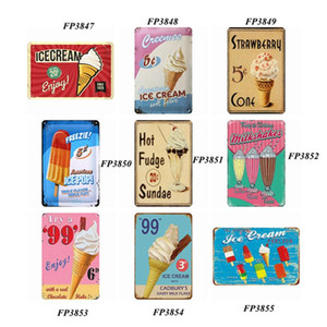Metal Tin Sign Paints Retro Wall Plaque Sign Art Sticker Iron Painting Home Restaurant Ice-cream Decoration Pub Signs Wall Decor LLS206