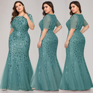 2021 Cheap Sexy Lace Mermaid Bridesmaid Dresses Scoop Sheer Maid Of Honor Plus Size Formal Evening Prom Party Gowns 01