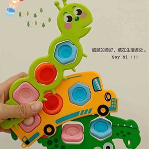 Christmas Pioneer Push Pop Fidget Toys Fashion Rainbow Poppers Bubble Caterpillar Bus Crocodile Early Teach Finger Board Game Decompression Toy G95P85S