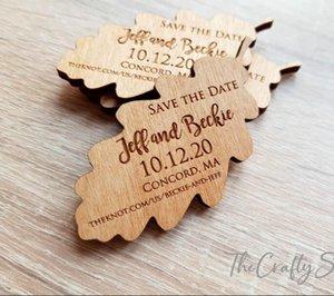 Fridge Magnets Wedding Save The Date Magnets, Wooden Magnet Date, Oak Leaf Shape, Autumn