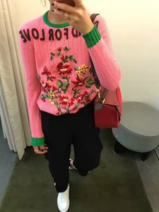 2021 New design fashion women's flower letter embroidery luxury long sleeve knitted pink color sweater jumper tops knitwear