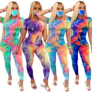 Sleeve Tracksuits Women XHD7ID Tie Dye Set Short Ladies Set Mask Piece Tops Pants Yoga Fashion Female Outfits Three Sportswear Mqwqg