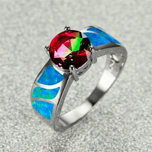 Charm Female Rainbow Round Stone Ring Silver Color Red Green Engagement Ring Cute White Blue Fire Opal Wedding Rings For Women