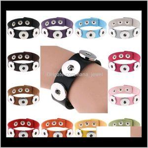 Wholesale Snap Button Bracelet Bangles Unisex Pu Leather Bracelets Fit 18Mm Noosa Snap Button Jewelry 14 Colors For Choose 5Ihba I0Cyy