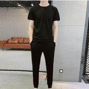 2021 hot selling solid color Men's Sets 2 Pcs Sets T-Shirt Men's Running Sports Choli Jogging Pants Sportswear Suit ropa hombre