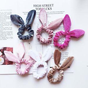 Girls Velvet Bunny Ears Elastic Hair rope Kids Accessories Ponytail Rabbit ears hairbands Children Scrunchy Hairbands AHB5354