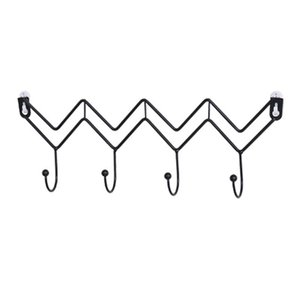 4 Nordic Simple Black Wave-Shaped Hooks, Creative Home Wall Back Wall Coat, Hat and Scarf Storage Hooks