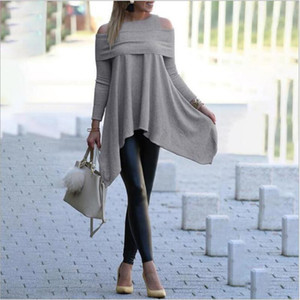 Autumn Long Sleeve Irregular T Shirt Elegant Off the Shoulder Slim Long Shirt Knitted Pullovers Women's Oversized Tops Clothes