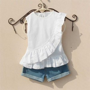 Girls Summer Blouse 2019 Teenage School Girls Tops and Blouses Cotton White Shirt for Girl Solid Red Shirts Children Clothing Y200704