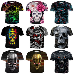 2021New Designers T Shirts Mens Summer men's large slim skull 3D digital print short sleeve T-shirt