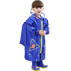 Choas de chuva infantil para meninos e meninas com grandes chapéus para alunos em jardim de infância bebê com schoolbags e poncho