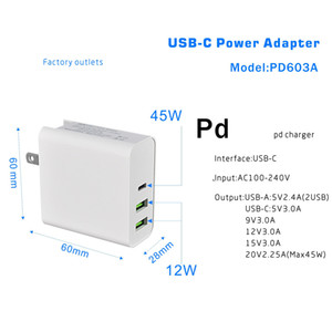 45W PD Charger USB C Power Adapter PD QC3.0 TYPE-C 3Port Wall Charger for USB-C Laptops MacBook xiaomi Samsung Charger