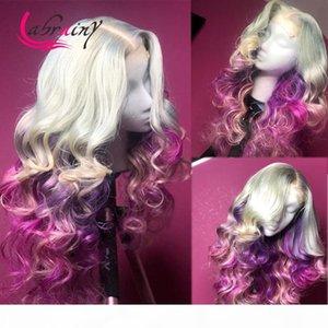 13x6 HD прозрачный OMBRE 613 фиолетовый кружевной фронтальные парики человеческие волосы цветные парики кузова REMY парик предварительно очищенные отбеленные узлы