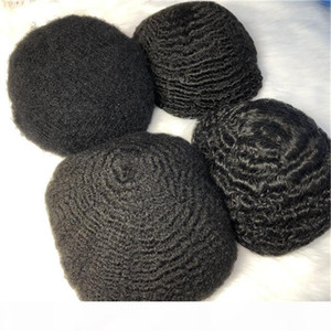 Black color 6inch length afro toupee for black men real brazilian hair man toupee man hair wig natural toupee