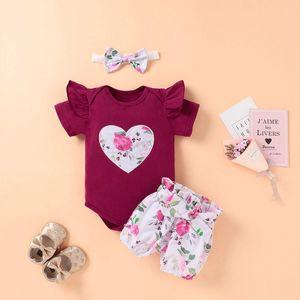 Floral Printed Baby Outfits Kids Girls Heart Splice Rompers Ruffle Sleeve Onesies Elastic Little Flower Printed Shorts Headband