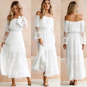 2021 여성 Strapless 긴 소매 느슨한 하얀 해변 드레스 섹시한 어깨 레이스 Boho 여성 Maxi Dress