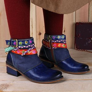 Womens Ankle Bare Boots Embroidered Bohemian Square Heel Side Zip Short Tube Shoes Dames Laarzen Chaussures Femme Women Boots Moon Boo 04IG#