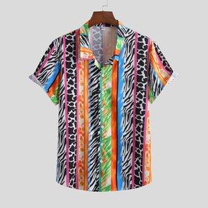Erkek Yaz Gömlek Moda Rahat Yaka Baskı Kısa Kollu Gömlek Üst Bluz Erkekler Camisa Masculina Hawaiian Streetwear 2021