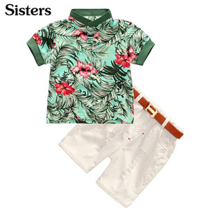 Hot-selling 2pcs Toddler Kids Cool Baby Boy Flower Short Sleeve Polo T-shirt Tops+ Short Pants Outfits Clothing Set C0225