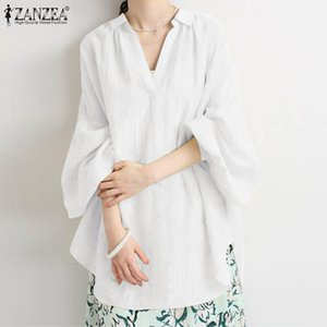 Women's Blouses & Shirts Fashion Irregular Hem Top Women Spring ZANZEA 2021 Casual Long Sleeve Blusas Female Button Tunic Oversize Solid Che