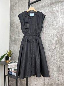 Vestidos de la pista de Milán 2021 Vestido de diseñador de mujeres con paneles de verano Marca MISMO estilo Vestido Falda con correas de hombro 0313-2
