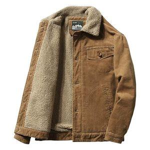 Mcikkny Мужчины теплые вельверы куртки пальто меховые воротничка зима повседневные куртки для мужчин термический