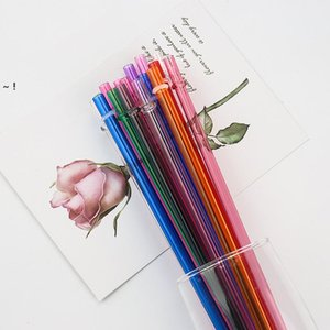 Plastic Transparent Drinks Drinking Straw Milk Coffee Solid Color Straws Eco-friendly Festival Party Kitchen Bar Supplies RRE10653
