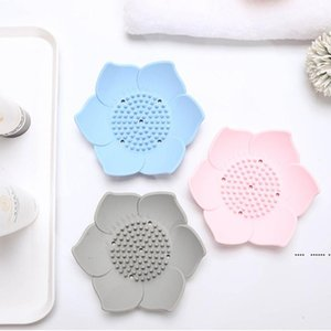 Flower Silicone Soap Tray Lotus Shape Draining Soap Dish Holder Portable Soaps Dishes Toilet Bathroom Accessories FWD5245