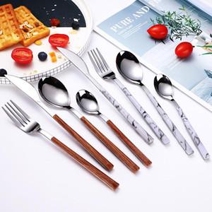 410 Stainless Steel Wood Grain Handle Cutlery Steak Western Knife Fork Spoon Cutlery Set Home Dinning Kitchen Restaurant Supplies YL0052