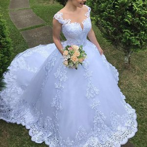 2021 New Cheap Illusion Dressed As a Bride Around the Neck Princess Luxury Gown Mariee Wedding Dress DNOQ