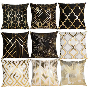 Black White Bronzing Cushion Cover Decorative Pillows Fashion Seat Cushions Home Decor Geometric Throw Pillow Sofa Pillowcase OWD5154