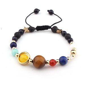 Universe Galaxy solar system eight planets guard star natural stone bead Bracelet female3FLUJYL4