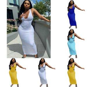 Fashion Designer 2021 dresses Women's Wear Spring And Summer Suspender Vest Deep V-neck Slim Sexy Ladies Long Night Club Dress