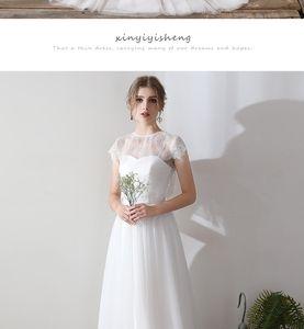 Wedding dress women 2021 spring new bride one word shoulder Mori simple super fairy French dress light wedding dress