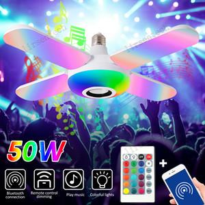 Smart RGB LED lâmpada app bluetooth música luz e27 lâmina dobrável lâmina 50w sala de estar lâmpadas de teto colorido controle remoto sem fio