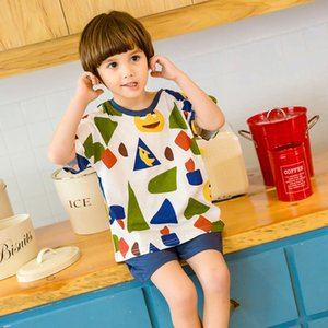 Children's pajamas short sleeve thin pure cotton summer home little boys' cartoon air conditioning clothes