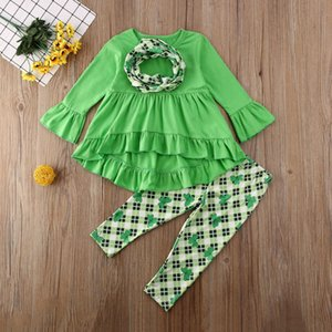 INS Kids Clothes Set Flared Sleeve T Shirt Dress Wave Skirt Pants Trousers Leggings Casual Suit Baby Girls Lucky Clover Set H32CXUO