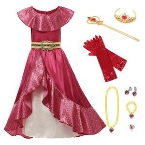 Robes de fille fille princesse rouge elena enfants habiller cosplay costume sans manches de luxe fête halloween fantasme