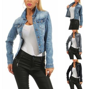 Womens Jackets New Faded Wash Jeans Jacket Women Casual Single Breasted Denim Jacket Blue Black Loose Ladies Korean Brand