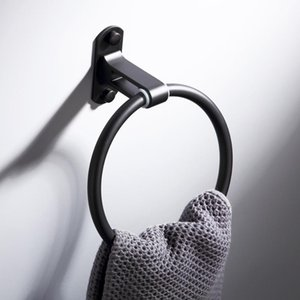 Black Towel Ring Wall Mounted Space Aluminum Bathroom Towel Holder Shower Round Rack Bath Accessories Hardware