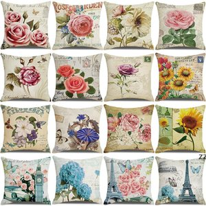 new vintage floral pillow custom linen print sofa home office decoration cushion cover business gift covers pillowcase 45*45CM HWB10540