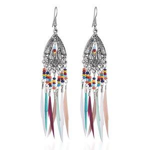 10pairs Lot 2021 New Hollow Feather Dangle Earrings Bohemian Retro Colorful Beads Ear Drop Women Party Long Tassel Earring Hook Jewelry
