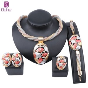 Dubai Gold Colorful Jewelry set For Women Leaves Crystal Necklace Earring Ring Italian Bridal Wedding Accessories Jewelry Set