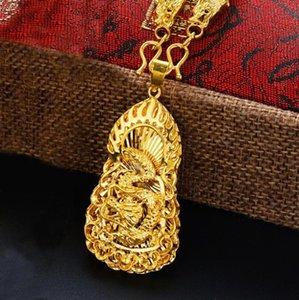 Ожерелья кулон Ожелье Огонь Дракон 24к Золотое Ожерелье Для Мужчины Изделия Ювелирные Изделия Желтая Роскошная Мужская вечеринка День рождения Подарки